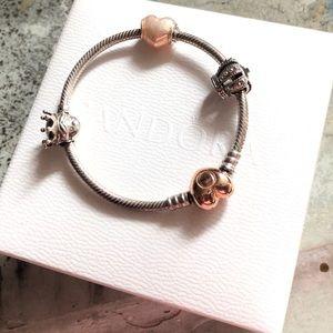 Authentic Pandora Bangle Bracelet 3 Charms EUC